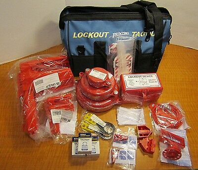 (21 PIECE) BRADY LK981E Filled Electrical Valve Portable Lockout Tag Out Kit NEW