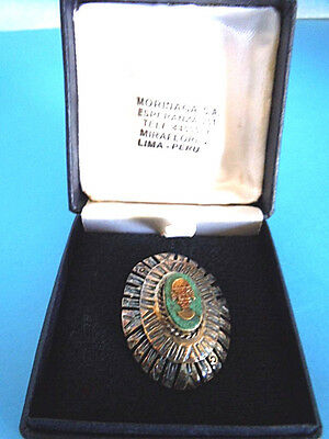 Silver .925 Inca Peru Diety Brooch/ Pin w/Hoop for Necklace, Green Onyx?