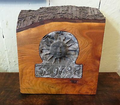 SUPERB RARE MID 18th C ANTIQUE LEAD SUN FIRE SIGN IN SOLID HANDMADE WOOD MOUNT