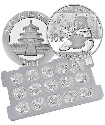 2017 China 10 Yuan 30g Silver Panda - Sheet of 15 (Mint Caps) SKU43870