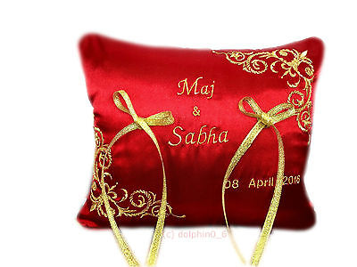 New Unique Beautiful Personalised Wedding Ring Cushion Red Gold Handmade