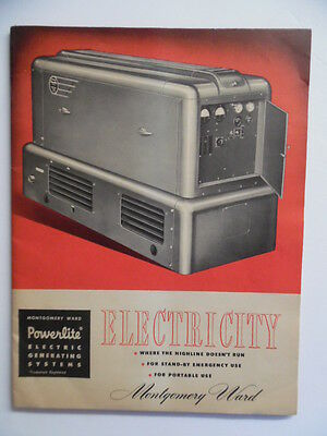 c.1950 Montgomery Ward POWERLITE Electric Generating System Generator Catalog VG