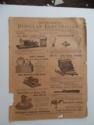 1894 Bubier's Popular Electrician Magazine Antique Electrical Popular Science