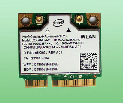 Intel Centrino Advanced-N6235 Wlan 6235ANHMW  Bluetooth 4.0 WiFi 802.11a/b/g/n