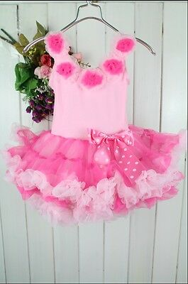 Lovely Baby Toddler Girls Princess pink tutu Party dress