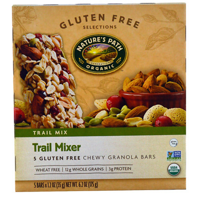 New Nature's Path Trail Mixer Chewy Granola Bars Gluten Free Whole Grain Cereals