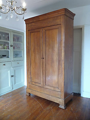 Antique Chestnut Louis Philippe Style French Armoire Wardrobe Cupboard
