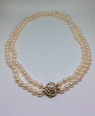 14K Yellow Gold Double Strand Cultured Akoya Pearl Necklace With Diamond Clasp