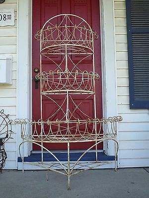 Antique Victorian Metal Large Plant Stand White Rustic Flaking Paint