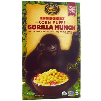 New Nature's Path Envirokidz Organic Corn Puffs Gorilla Munch Cereal Whole Grain