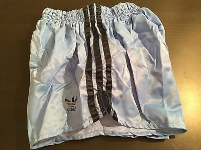 Amazing Superb Shiny Satin Vintage Baby Blue Adidas Sprinter Shorts Large D7