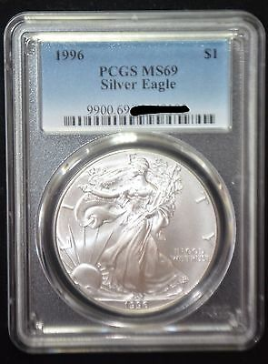 1996 PCGS MS69 Silver AMERICAN EAGLE ASE - beautiful coin