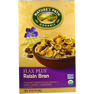 New Nature's Path Organic Flax Plus Raisin Cereal Vegan Omega 3 Healthy Foods