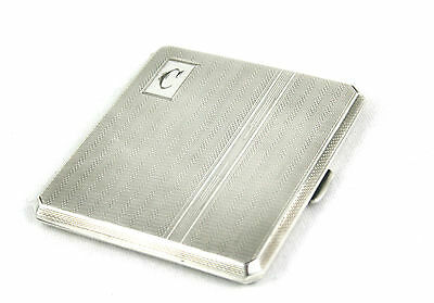 Art Deco Sterling Silver Cigarette Case Engine Turned Birmingham 1946 95 g