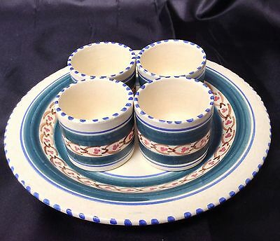 Vintage Retro Art Deco Egg Cup Honiton Pottery Devon Set X4 & Plate Hand painted