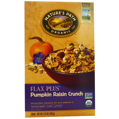 New Nature's Path Organic Flax Plus Cereal Pumpkin Raisin Crunch Vegan Foods