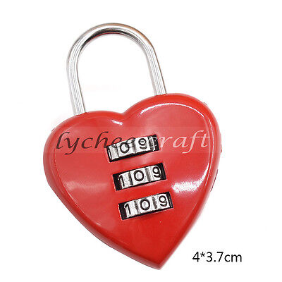 3 Digit Dial Combination Password Code Lock Padlock for Luggage Travel Red Heart