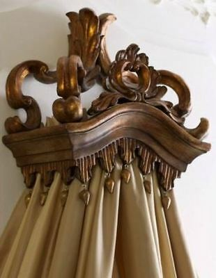 Majestic Baroque Open Tassel Bed Crown | Antique Gold Tester Wall Curtain