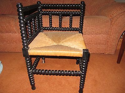 antique ball back corner chair with new rush seat
