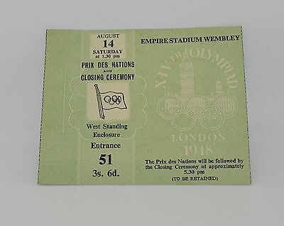 Rare 1948 London Olympics Games Closing Ceremony Ticket Great Collector Item