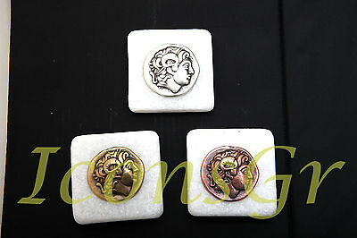 Ancient Greek Marble Press Papier with Alexander The Great Macedonian Set of 3