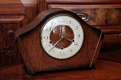 Vintage Art Deco  'Smiths' 8-day Oak Mantel Clock with Westminster Chimes & Key