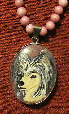 Chinese Crested hand painted on oval gemstone pendant/bead/necklace