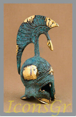 Ancient Greek Bronze Miniature Helmet Green Gold Oxidization 379