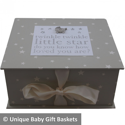 Stunning baby keepsake/memory/treasure box unisex neutral boy girl new baby gift