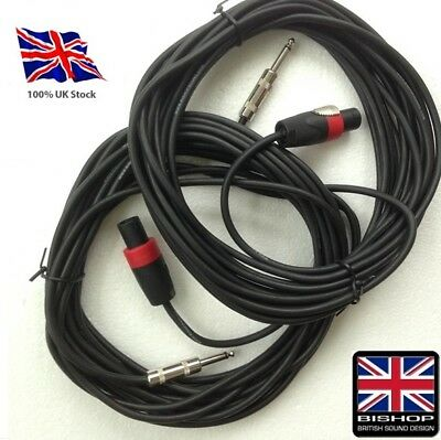 "Jack to Speakon Cable 4 pole to 1/4"" 7mm Dia PA Speaker Lead (PAIR)"