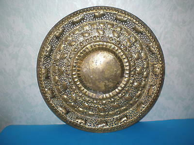 Antique Islamic/Persian hand made filigree engraved ornate brass tray early 20 c