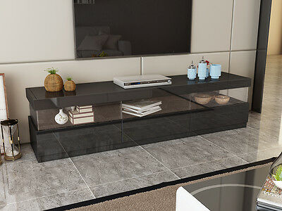 Gecko Black High Gloss Lowline Cabinet with Glass Window A492 3 pull out drawer