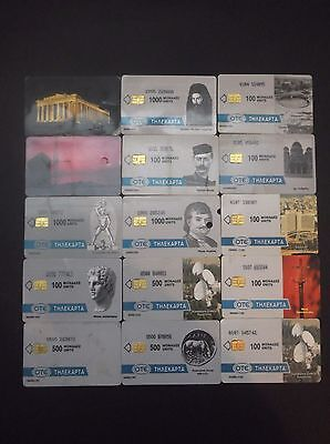 Greece Lot 15 Rare Different Phonecards From 1993 But With Marks,  Creased Grece