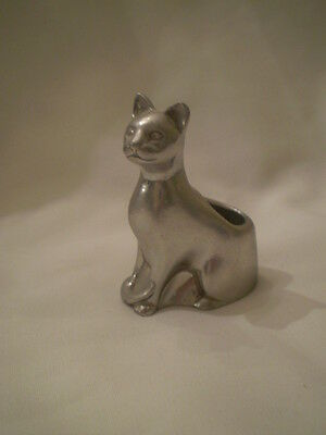 """Small Seagull 2"""" Pewter Cat Figure Candle Holder"""