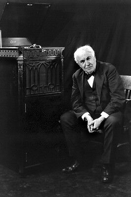 New 5x7 Photo: Inventor Thomas Edison by Phonograph Record Player