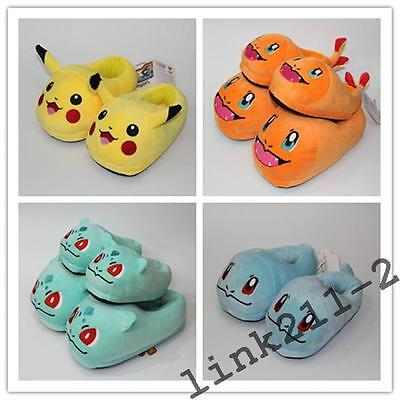 Kids & Adult Pokemon Slippers Pikachu Bulbasaur Squirtle Family Plush Shoes