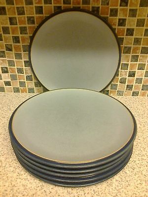 Denby Everyday Blue Dinner Plates X 6 Light Blue Inside & Dark Blue Outside
