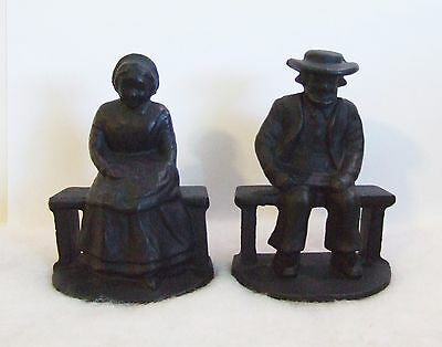 Cast Iron Black Amish Man and Woman Bookends 4 3/4'' Tall (MO5 #23)
