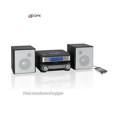 Stereo Music System AM/FM GPX HC221B Remote Control Compact CD Speakers New