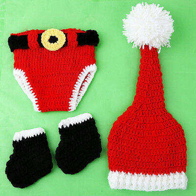 Christmas Suit Newborn Baby Crochet Knit Costume Photography Photo Prop Outfits