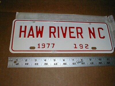 Haw River North Carolina NC Vintage Metal Auto License Plate City 1977 Tag New