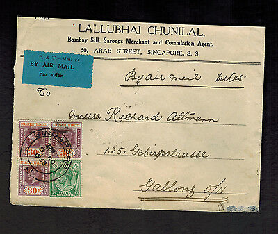 1933 Straits Settlement Singapore Airmail Cover to Czechoslovakia KLM Airlines