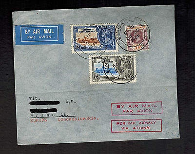 1935 Straits Settlement Singapore Cover to Czechoslovakia Imperial Airways