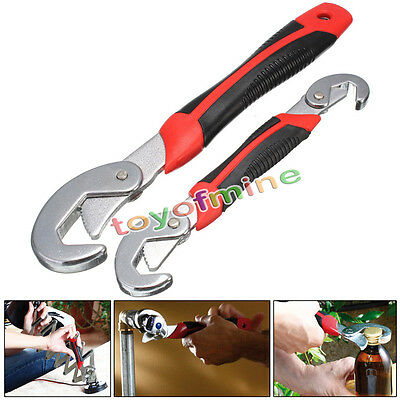 2 Pcs Multi-function Universal Quick Snap'N Grip Adjustable Wrench Spanner
