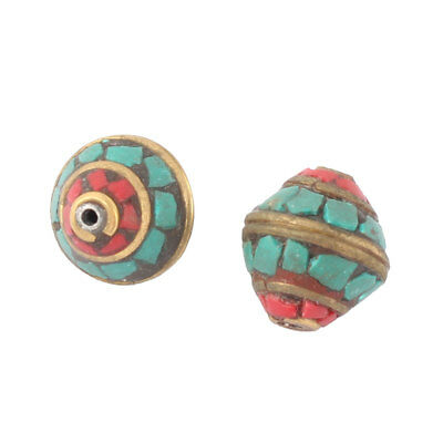 Lady National Style Handcraft Necklace Jewelry Making Beads Multi Color 2 Pcs