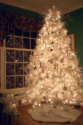Madison Pine Pre-Lit Elegant White Artificial Christmas Tree 6.5ft Lights Stand