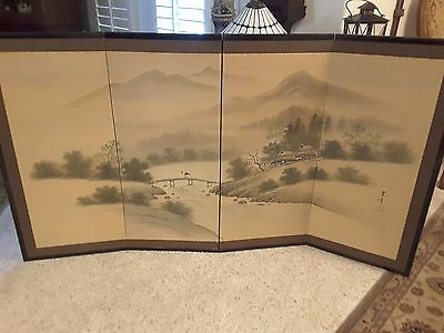 Vintage Oriental Hand Painted Silk 4 Panel Screen Room Divider or wall mural.