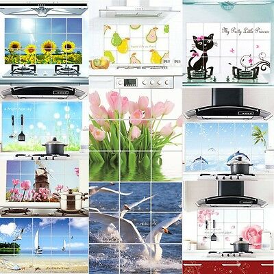 Waterproof and Oil Proof Kitchen Wall Stickers Aluminum Foil Decal 75*45cm W1E