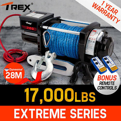 T-REX Electric Winch 12V 17000Lbs/9071kg Synthetic Wireless Rope Remote 4WD Boat