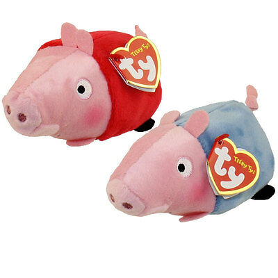 Set of 2 Ty Beanie Boo Teeny Tys Peppa George Pig New Heart Tags Stackable Plush